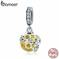 Bamoer S925 Sterling Silver Cz charm The Honeycomb Dangle Fit Bracelet Jewelry