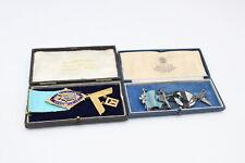 More details for 2 x vintage hallmarked .925 sterling silver enamel & gilt masonic jewels (62g)