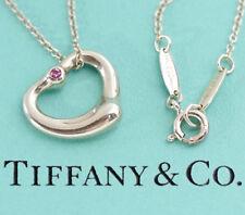 TIFFANY&Co Pink Sapphire Open Heart Necklace Peretti Silver 925 v1043