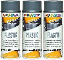 3x400ml Plastic Lackspray Kunststoff Plastik Autolack Sprühlack Farbe dunkelgrau