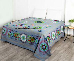 Coloré Ouzbek Vintage Handmade Broderie dessus Lit Original Neuf Suzani Blanket