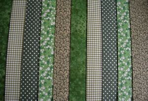 """10 JELLY ROLL STRIPS GREEN 44"""" X 2.5""""  100% COTTON PATCHWORK/QUILT NER"""