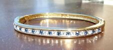 Nwot Swarovski Signed Stackable Channel Style Blue&Clear Crystal Hinged Bangle!