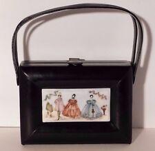 RARE Vtg. Rosenfeld Black Leather Purse with Decorative Porcelain Plaque