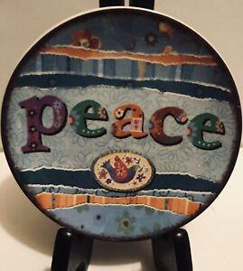 """Carson Home Accents Lori Siebert Design PEACE Decorative Ceramic Plate 4.75"""" NEW"""