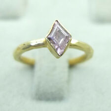 Handmade Designer  Hammered Nice Pink Topaz Ring 24K Gold Over Sterling Silver