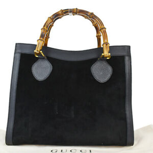 GUCCI Bamboo Tote Hand Bag Suede Leather Black Gold Plated Made In Italy 01SC003