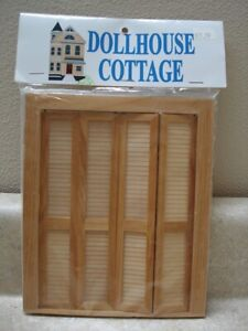 Dollhouse Miniatures Working Louver Wood Bi-Fold Doors by Dollhouse Cottage