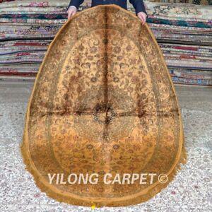 YILONG 4'x6' Oval Handwoven Silk Carpet Gold Medallion Area Rugs MC344B