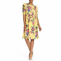 New Bobeau Dress L Large Yellow Floral Smocked Waist Ruched Sleeve Boho Midi