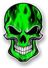 Ciclista cráneo gótico & Verde eléctrico llamas Motif Vinilo Coche Moto Adhesivo Calcomanía
