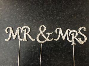 MR & MRS Diamanté Cake Pick  Topper Wedding