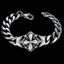 New Cross Men's Stainless Steel Bracelet Bangle Wristband Chain Link Cuff Biker