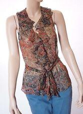 Lauren Ralph Lauren Womens Floral Silk V Neck Sleeveless Belted Top Blouse 12
