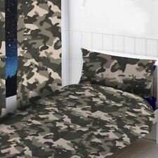 "CAMOUFLAGE GREY READYMADE CURTAINS KIDS BEDROOM ARMY 54"" DROP"