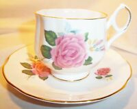 ROYAL DOVER CHINA ENGLAND PINK ROSE CUP AND SAUCER WITH GOLD TRIM