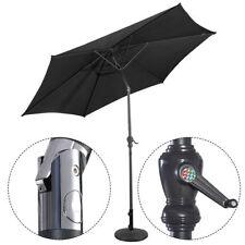 3M Steel Parasol Metal Crank Garden Umbrella Shade Outdoor Sunshade Black