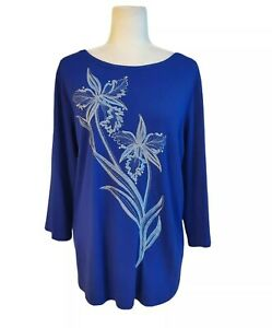 Bob Mackie Wearable Art Women's 1X Royal Blue Embroidered Sequin Stretch Blouse