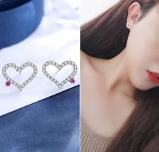 Women 925 Silver Jewelry Crystal HEART PEARL Elegant Ear Stud Hanging Earrings