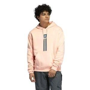 New Adidas Mens Skateboarding Solid Pink Glow Athletic Hoodie Sweatshirt L