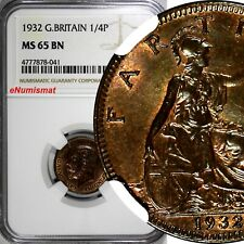 Great Britain George V (1910-1936) Bronze 1932 Farthing NGC MS65 BN KM# 825