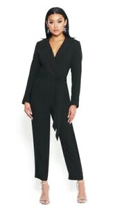 BEBE LONG SLEEVE BELTED CROP LEG JUMPSUIT Size 8 or M Brand NEW!