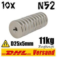 10x Neodym Magnet D25x5mm 11kg Zugkraft mit Loch N52 - Hightechmagnet magnetisch