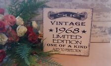50th Birthday year personalised plaque sign vintage shabby & chic gift idea
