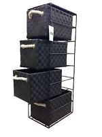 Tower Unit 4 Drawer Storage Black With Metal Frame Polypropylene Made by ARPAN