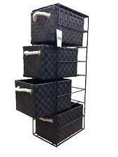 Black Tower Unit 4 Drawer Storage With Metal Frame Polypropelene Made 436BK