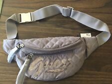 New Guess Gray Satin Quilted Waist Bag Sequin Signature