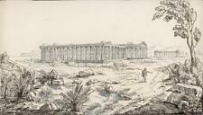 TEMPLES AT PAESTUM SALERNO ITALY Pen & Ink Drawing ELIZABETH CAMPBELL c1825