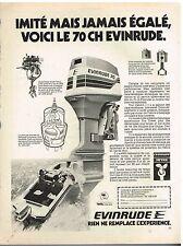 Publicité Advertising 1977 Moteur Hors Bord Bateau Envinrude 70 ch