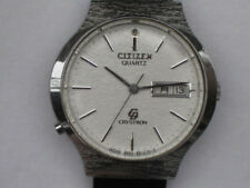 Citizen Crystron 4-860683 Double Calender Quartz Mens Authentic Watch Japan F/S
