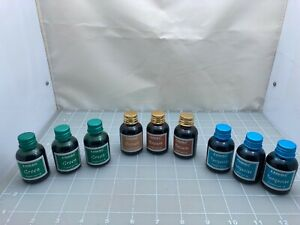Judd's Lot of 9 New Bottle Karkos Ink - 3 Green, 3 Brown, 3 Turquoise
