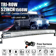 CREE 7D+ 52INCH 1566W CURVED TRI-ROW LED LIGHT BAR SPOT FLOOD COMBO WORK 52/54""