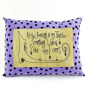 Handmade Halloween Witch Decorative Pillow By The Pricking of My Thumb Embroider