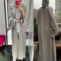 Dubai Muslim Women Open Front Long Dress Abaya Ramadan Kaftan Cardigan Maxi Robe
