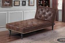 Hot Sale - Faux Leather Vintage Chaise Longue Small Chair Bed & Brown Colour