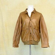 Mens Vintage Burberry Tan Soft  Leather Bomber Jacket Used Condition Medium Size