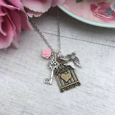 Secret Garden NECKLACE Shabby Chic BIRDCAGE Bird Key Rose CHARM Long Chain 22""