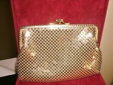 Goldtone Mesh 1990's  Double Kissing Lock Closure Clutch Bag!