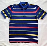 Brooks Brothers Youth Boys XL Polo Shirt Striped Blue 100% Cotton Short Sleeve