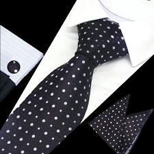 Mens Black White Purple Dot Check Silk Tie Handkerchief Hanky Cufflinks GIFTSET