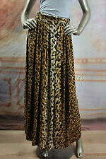 New MINK PINK Leopard Brown Carmel Black Pleated Long Maxi Cotton Skirt Small