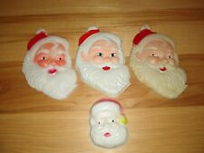 Lot of 4 Vintage Plastic Santa Claus Face Cake Toppers