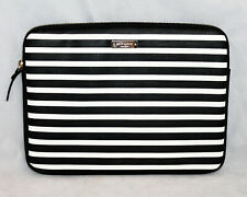 "KATE SPADE Black Ivory Stripe Padded Zip Laptop Tablet Sleeve 8.5"" x 11.5"""