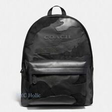 New Coach F59935 Mens Charles Backpack In Blackout Mixed Materials Black NWT