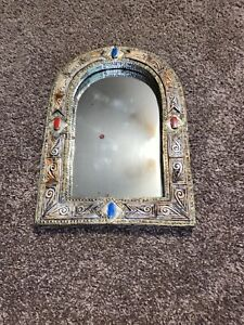 Vintage Ornate Arched Silver & Gold Wall Accent Mirror Agate Stones Metal
