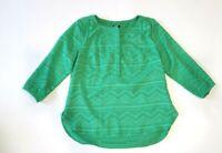Talbots Women's Medium Petite Green Textured Long Sleeve Shirt Blouse